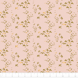 Birds in Pink ~ Metallic, Quilting Cotton, Camelot Fabrics - Weave & Woven