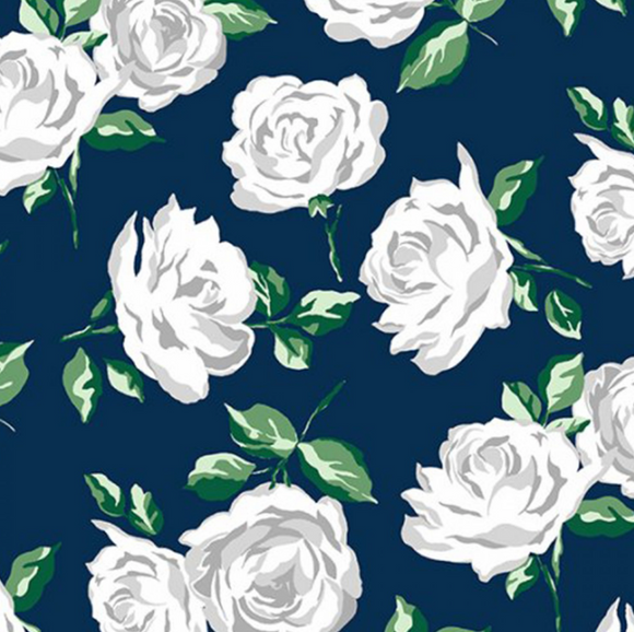 Rose Garden in Cobalt, Embrace Double Gauze for Shannon Fabrics, Weave and Woven