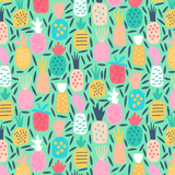 Pineapple Dream on Green, Quilting Cotton, Dear Stella - Weave & Woven