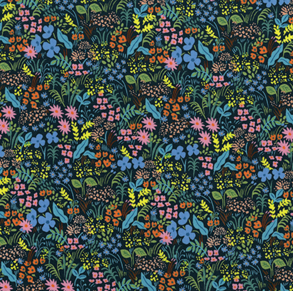 Meadow in Navy, English Garden Collection by Rifle Paper Co. For Cotton & Steel, Weave and Woven