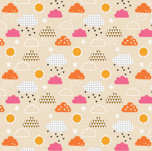 Sunny Clouds on Taupe, Geo Forest Collection for Dashwood Studio, Weave and Woven