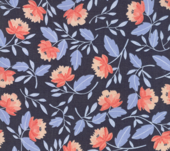 Twilight White Peony in Midnight, Quilting Cotton, Moda Fabrics - Weave & Woven