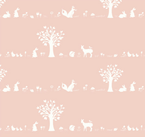 Forest Friends in Blush, Quilting Cotton, Birch Fabrics - Weave & Woven