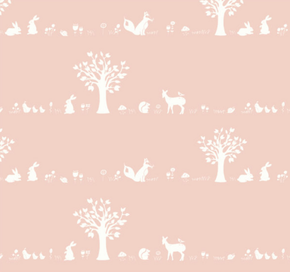 Forest Friends in Blush, Forest Friends Collection for Birch Collection, Organic Cotton, Weave and Woven