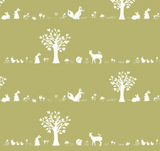 Forest Friends in Moss, Quilting Cotton, Birch Fabrics - Weave & Woven