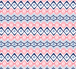 Ikat in Navy and Coral, Quilting Cotton, Camelot Fabrics - Weave & Woven