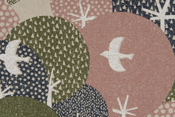 Birds and Circles ~ Linen Blend, Canvas, Cosmo - Weave & Woven