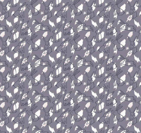 Bunnies on Grey, Quilting Cotton, Riley Blake Fabrics - Weave & Woven