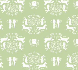 Friend Outlines in Green, Pretty Little Woods Collection for Camelot Fabrics, Weave and Woven