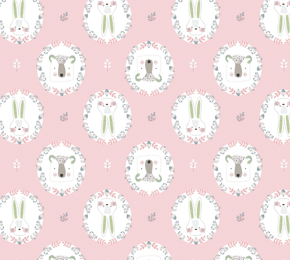 Flower Frames in Light Pink, Pretty Little Woods Collection for Camelot Fabric, Weave and Woven