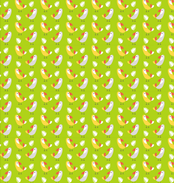 Tropical Birds in Lime, Quilting Cotton, 3 Wishes - Weave & Woven