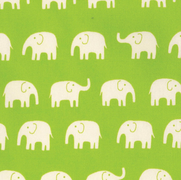 Elephants on Lime Green ~ Oxford, Oxford, Kokka - Weave & Woven