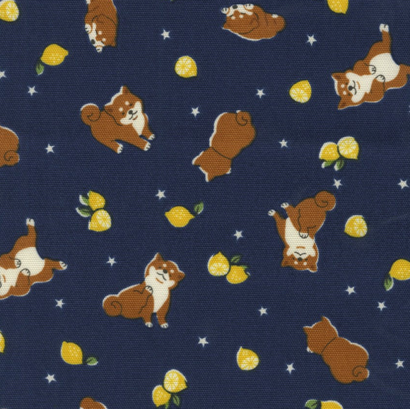 Shiba Inu in Blue Canvas for Kokka Fabrics | Weave and Woven