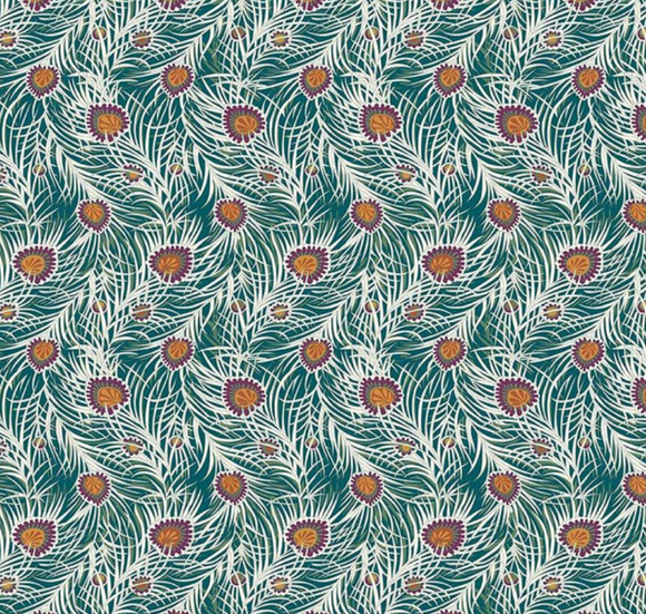 Pipers Peacock in Dark Green, Quilting Cotton, Liberty of London - Weave & Woven