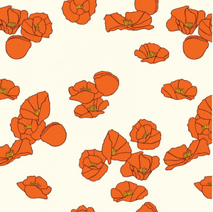 California Poppies in Red ~ Organic Knit, Knit, Birch Fabrics - Weave & Woven
