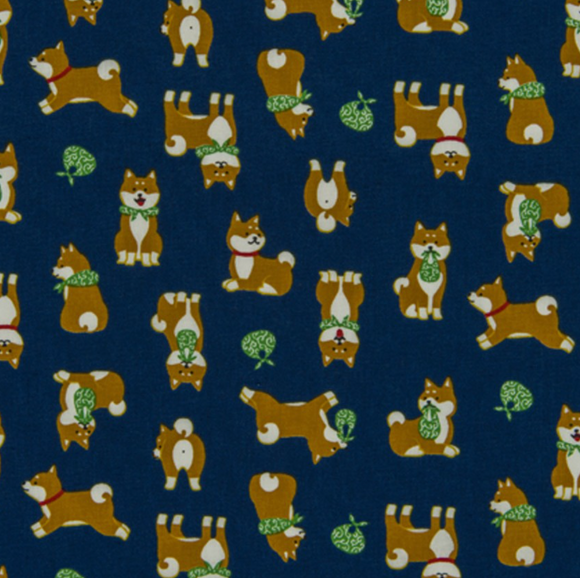 Shiba Inu in Blue, Quilting Cotton, Cosmo - Weave & Woven