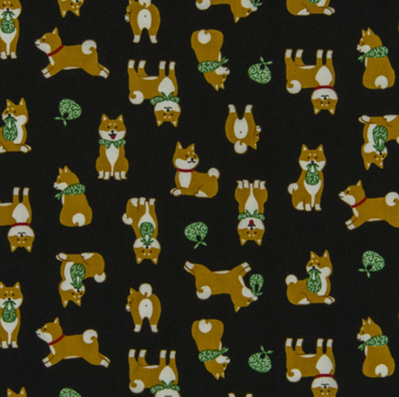 Shiba Inu in Black, Quilting Cotton, Cosmo - Weave & Woven