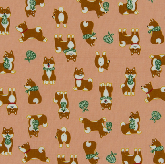 Shiba Inu in Pink, Quilting Cotton, Cosmo - Weave & Woven