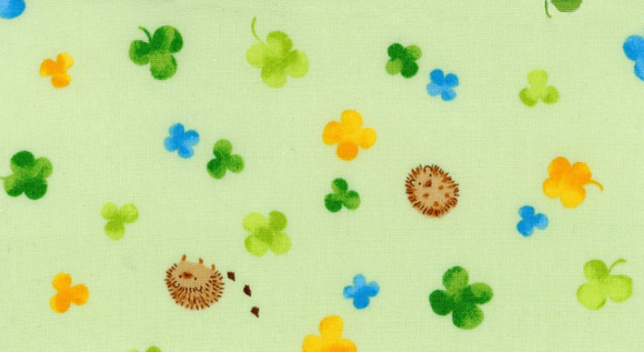 Hedgehogs and Clovers on Green, Quilting Cotton, Cosmo - Weave & Woven