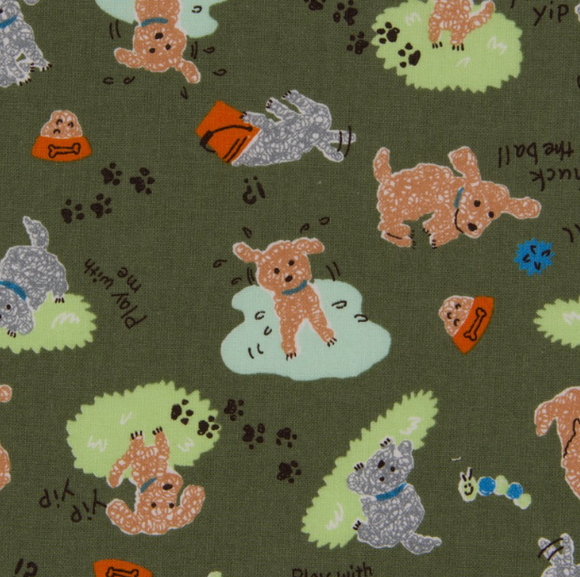Poodles on Olive Green, Quilting Cotton, Cosmo - Weave & Woven
