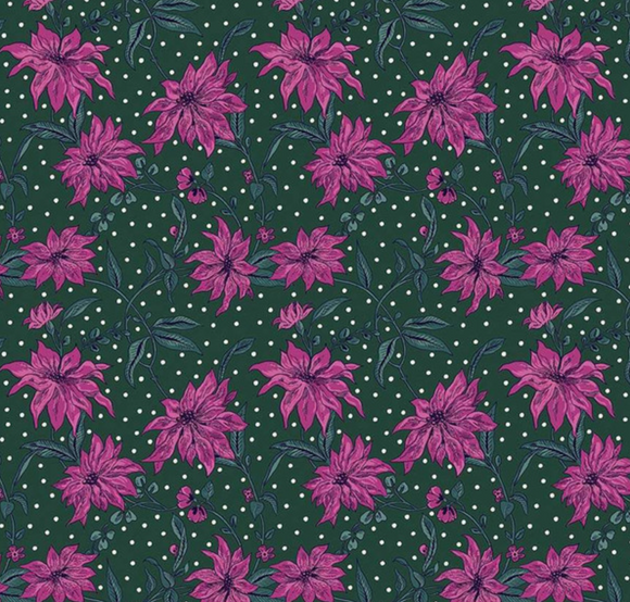 Poinsettia in Fuchsia & Green, Quilting Cotton, Liberty of London - Weave & Woven