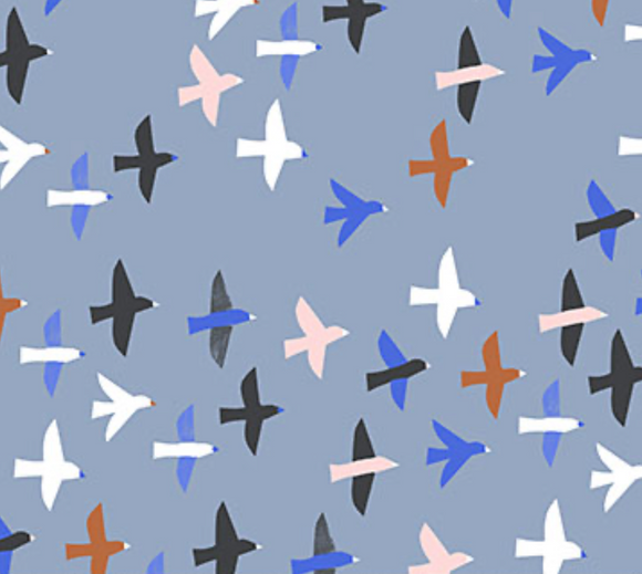 Bird Flock in Blue, Quilting Cotton, Figo - Weave & Woven