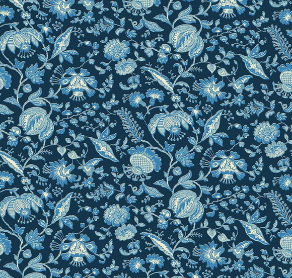 Victorian Florals in Navy - Weave & Woven