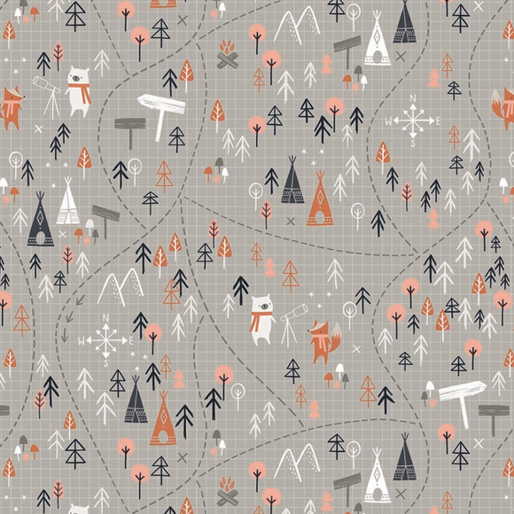 Woodland Trails on Grey, Quilting Cotton, Dashwood Studio - Weave & Woven