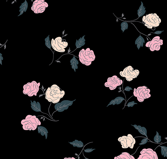 Steno Roses in Black ~ Rayon, Rayon, Ruby Star Society - Weave & Woven