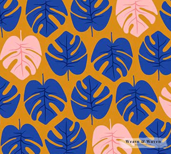 Tropical Leaves in Cobalt ~ Canvas, Canvas, Figo - Weave & Woven