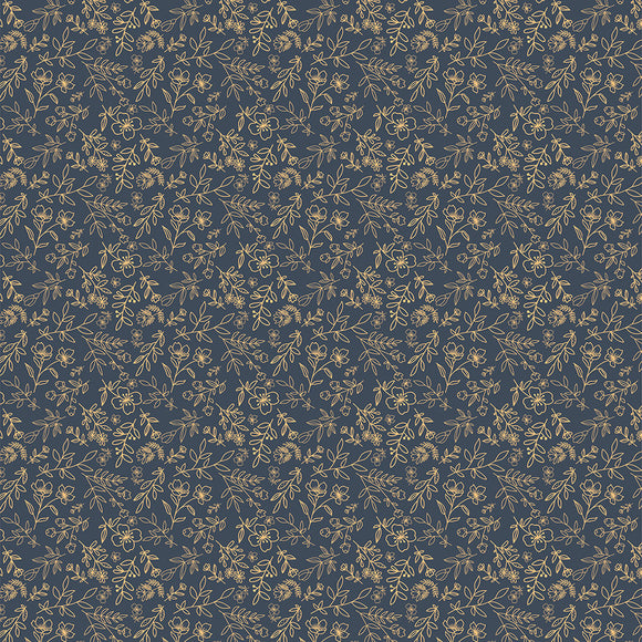 Sweet Blooms on Navy, Quilting Cotton, Poppie Cotton - Weave & Woven