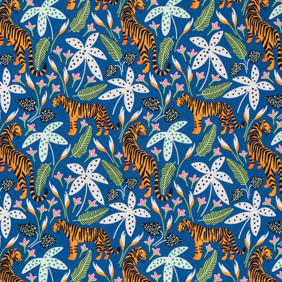 Tigers on Blue | Organic Cotton, Quilting Cotton, Nerida Hansen - Weave & Woven