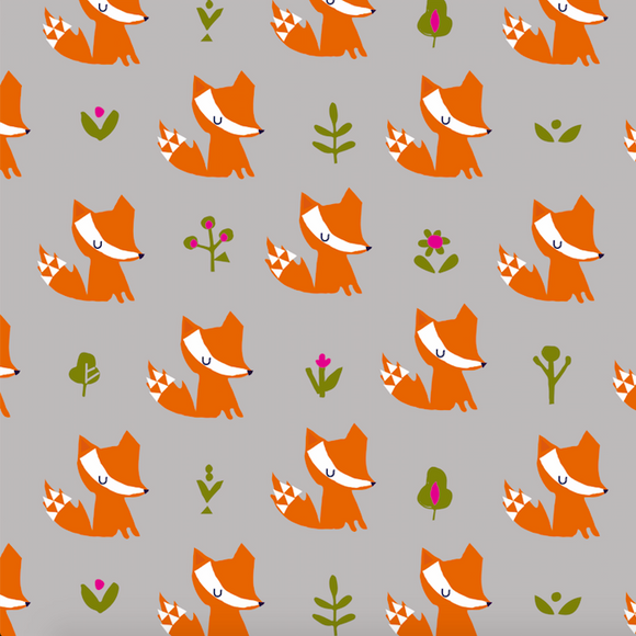 Little Fox on Grey, Quilting Cotton, Dashwood Studio - Weave & Woven