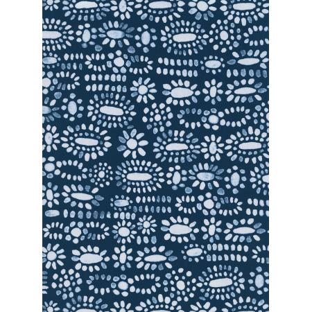 Moonstone on Navy | Rayon, Rayon, Cotton & Steel - Weave & Woven
