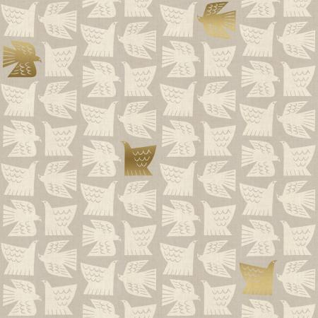 Paper Birds on Grey ~ Metallic, Quilting Cotton, Cotton & Steel - Weave & Woven