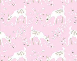 Pink Deer | Organic Cotton, Quilting Cotton, Clothworks - Weave & Woven