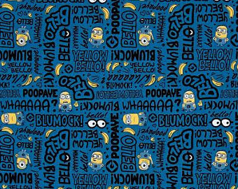 Million of Minions in Blue, Quilting Cotton, Quilting Treasures - Weave & Woven