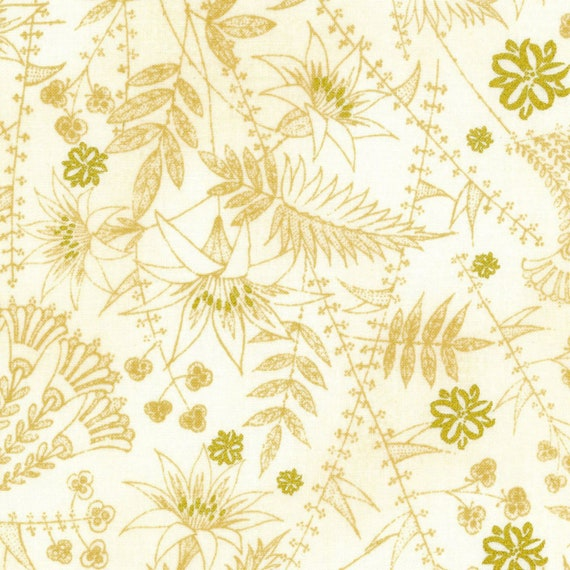 Gold Outlined Florals on Cream | Metallic Gold - Weave & Woven