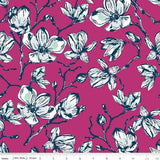 Magnolias in Fuchsia, Quilting Cotton, Riley Blake Fabrics - Weave & Woven