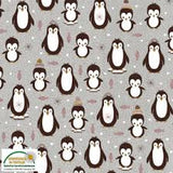 Little Penguins on Grey, Quilting Cotton, Stof - Weave & Woven