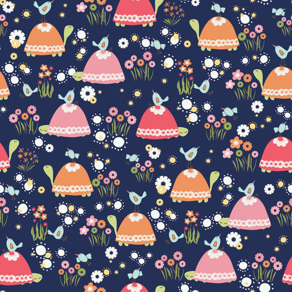 Turtles and Birds on Navy, Trish & Birdie Collection for sweet bee designs, Weave and Woven