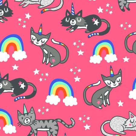 Pink Unicorn Cats in Fuchsia - Weave & Woven