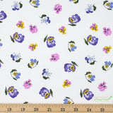 Ghostwood Pansies in White, Quilting Cotton, Dear Stella - Weave & Woven