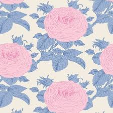 Grandma's Roses in Blue, Sunkiss Collection for Tilda Fabrics, Weave and Woven