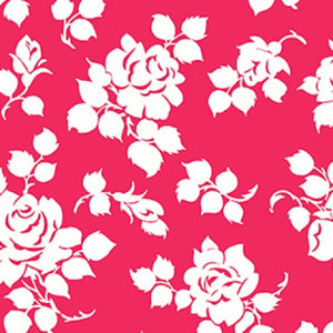 Janely Floral Silhouettes in Fuchsia, Quilting Cotton, Clothworks - Weave & Woven