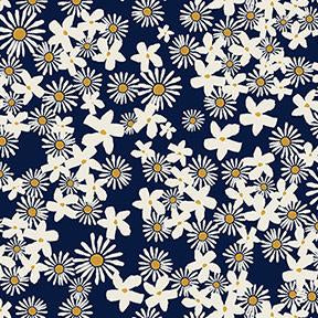 Tiny Daisies on Navy, Quilting Cotton, Clothworks - Weave & Woven