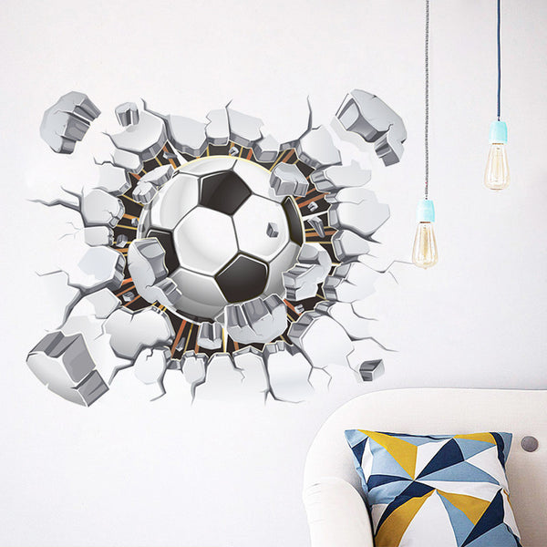 3D soccer ball / football wall sticker - kids bedroom or home sports decal