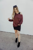 Maroon One Shoulder Sweater