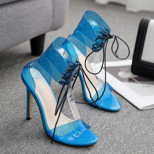Fashion blue sandals, slim heels, high heels, large size strap-on women's shoes