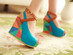 Fashion personality dazzling color slope heel comfortable pattern stitching women's shoes